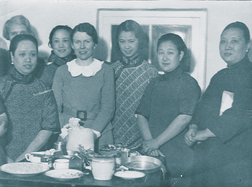 Miriam teaching Chinese women American cooking at Peking YWCA, 1935