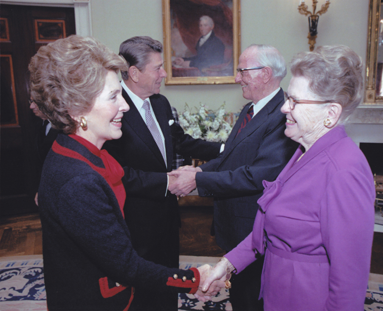 Receiving the Presidential Medal of Freedom from Ronald Reagan at the White House, 1981